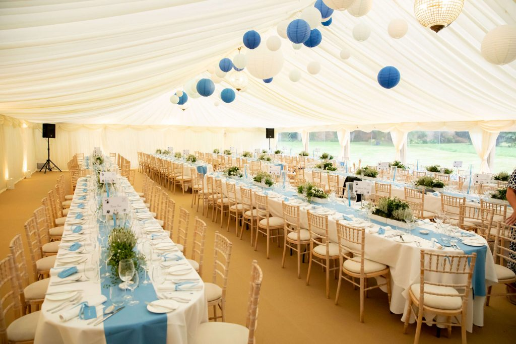 Blue and white simple marquee decoration