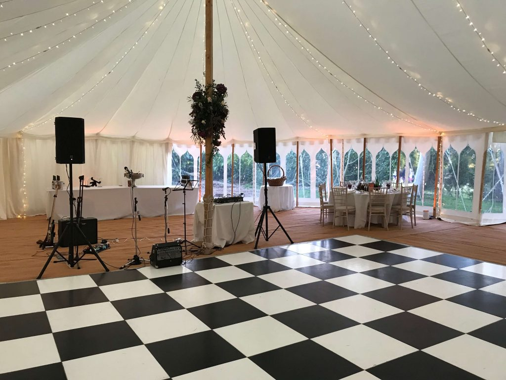Wedding marquee with black and white dancefloor
