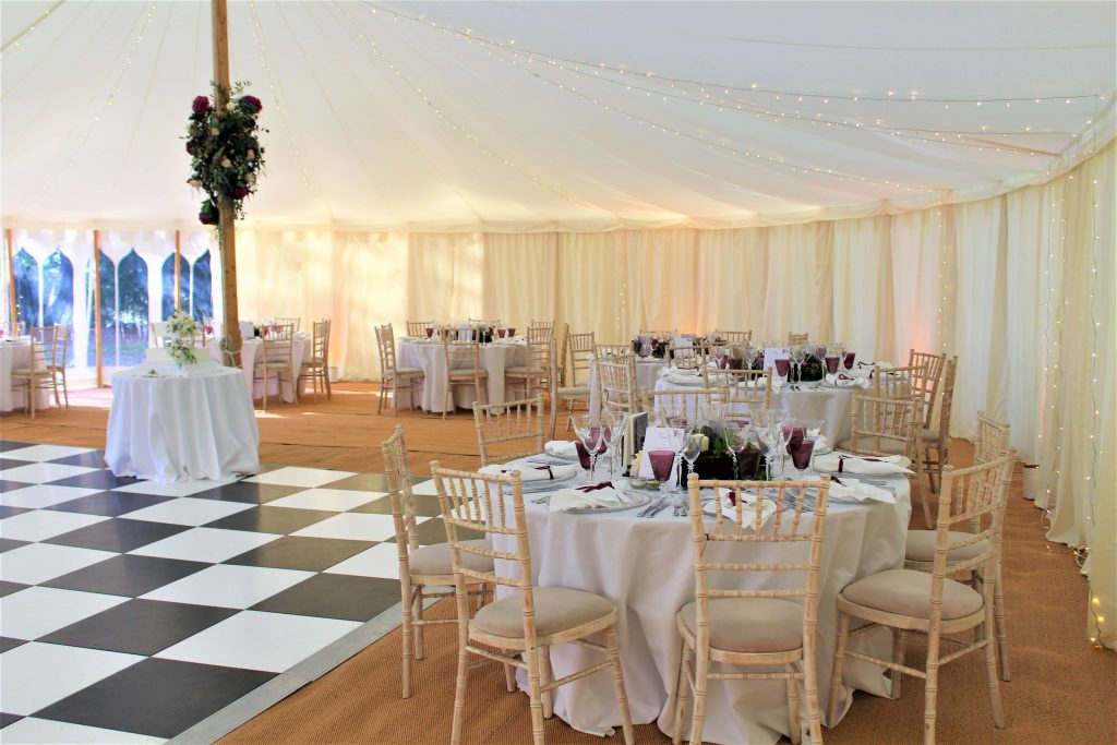marquee wedding tables and chairs layout