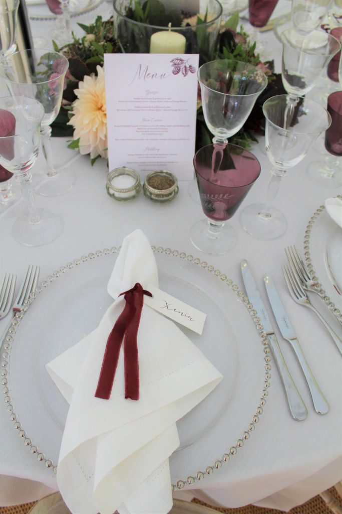 marquee wedding napkin and ribbon detail
