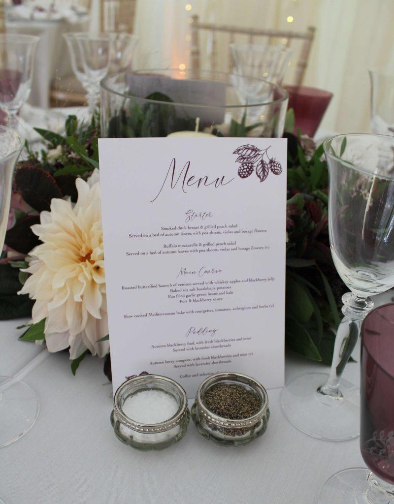 marquee wedding blackberry menu detail
