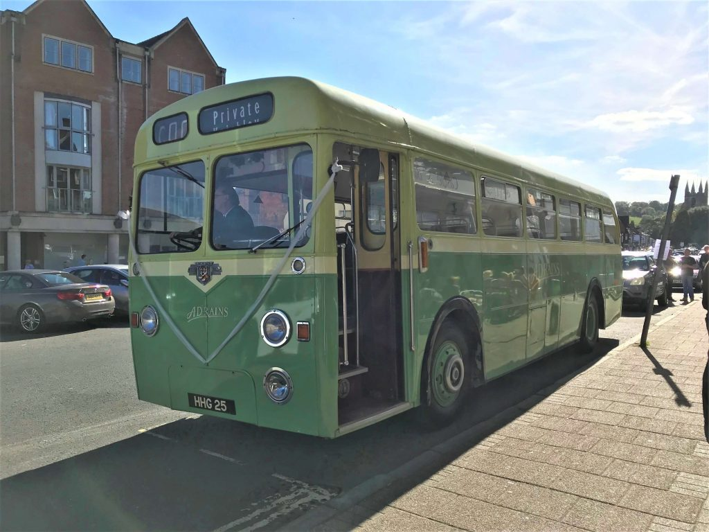 marquee wedding vintage bus transport