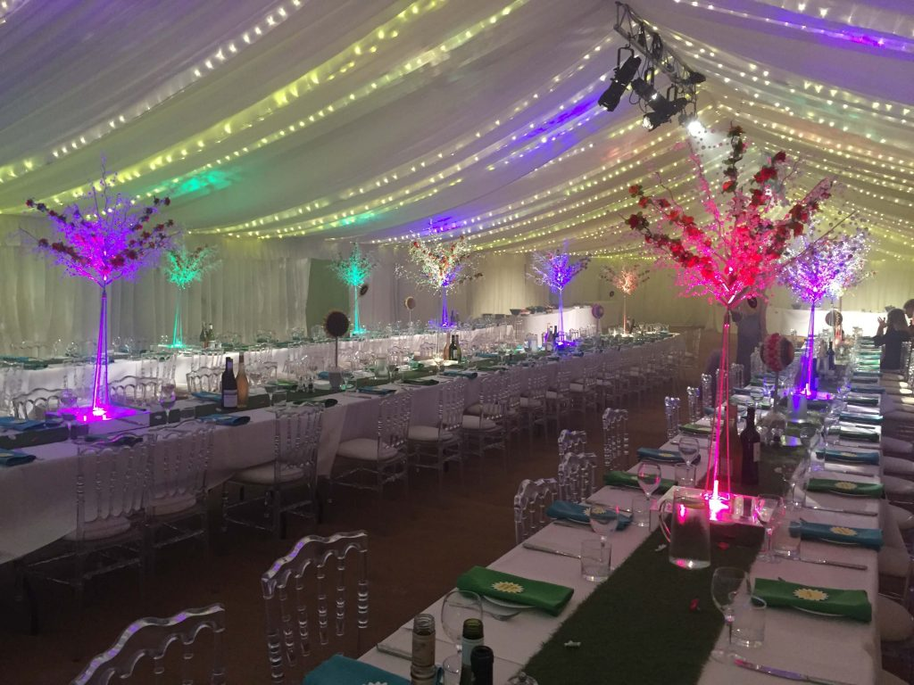 Colouful wedding marquee with bright lights