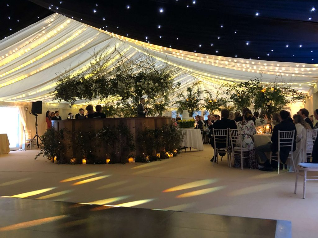 Starry ceiling wedding marquee