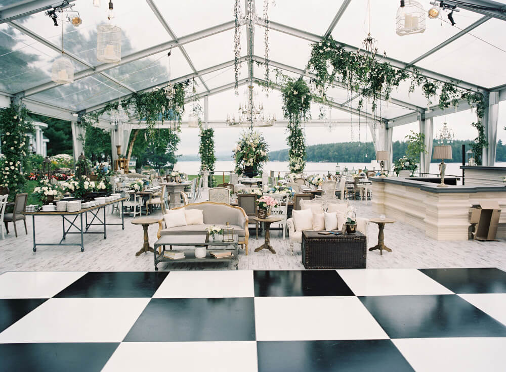 Funky white and black chequer dance floor for wedding marquee decoration