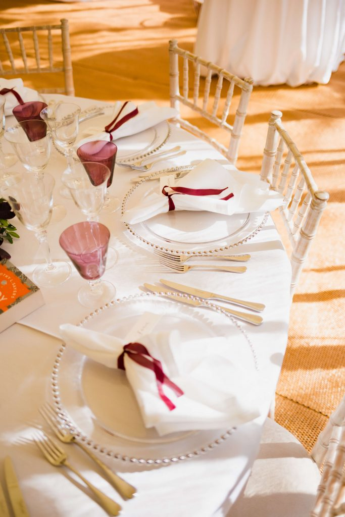Wedding budget table set up for wedding venues and marquees