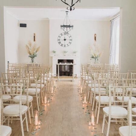 Wedding ceremony set up at The Old Rectory a stylish private Berkshire Wedding Venue